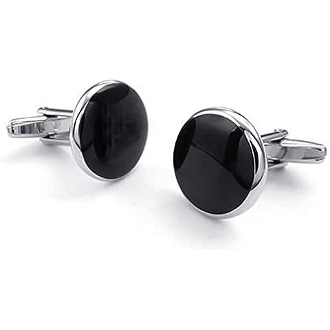 AnaZoz Joyería de Moda Gemelos de Hombre Plata Negro Rodio Plateado Graduación Camisa Gemelos Forma Redondo 1 Par Personalidad Simple Joyería de
