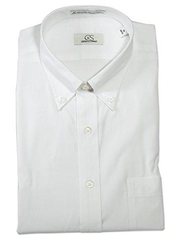 Cooper & Stewart (C&S) Uomini Senza rughe button down collare su misura adatta Bianco