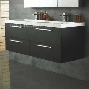 Rf015c hudson reed meuble salle de bains double vasque quartet lavabo suspendu mural for Amazon meuble salle de bain