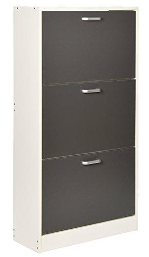 Ts-ideen Zapatero pasillo madera 3 cajones blanco con puertas en gris 121 x 64 cm