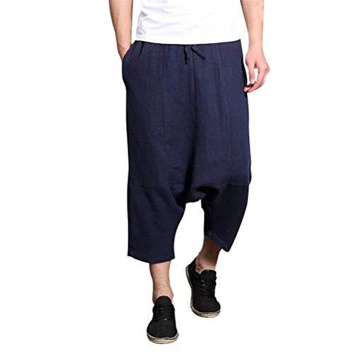 "Lannister Fashion Sommer Cool Low Crotch Haremshose Teenageralter Herren Bein Bekleidung Breites Atmungsaktiv Leinen Hippie Casual Pants Hose (Color : Navy Blue, Size : Waist 28&quot-29"")"
