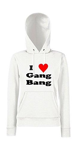 Kapuzenpullover für Frauen - I love Gang-Bang Weiß