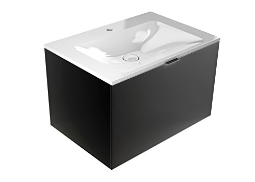 emco monolith Waschtisch mit Unterschrank mit Armaturbohrung Schwarz 717 mm