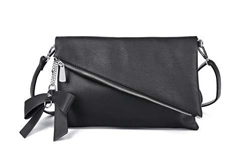 Løkke Damen Clutch Schwarz - elegante Abendtasche - 2-in-1 Damen Handtasche - Schwarze Clutch - Kleine Umhängetasche - abnehmbarer Gurt...