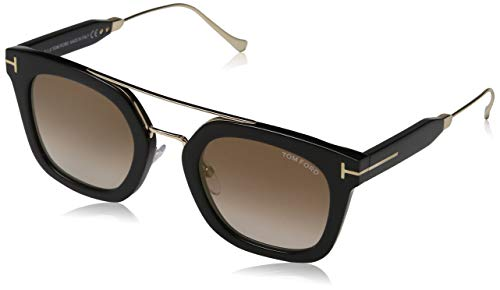 Tom Ford Unisex-Erwachsene FT0541 01F 51 Sonnenbrille, Schwarz (Nero Lucido/Marrone Grad),