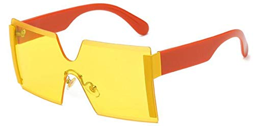 Sonnenbrillen. Frauen Übergroße Brille Halb Randlose Quadratische Sonnenbrille Designer Große Weibliche Sonnenbrille Outdoor Reisen Sommer Staub Uv400, Gelbe Linse