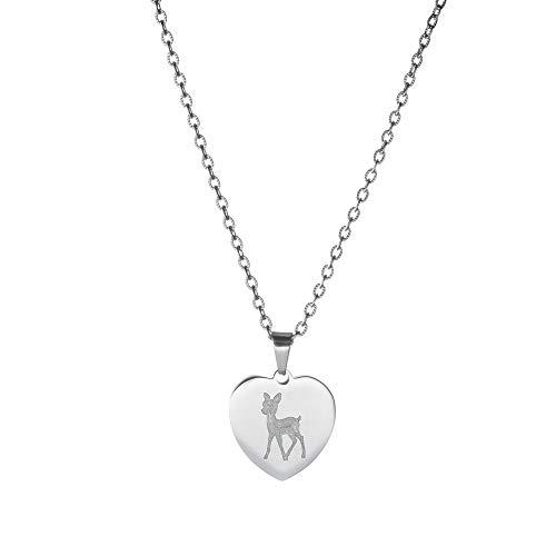 Gravado Halskette aus Edelstahl mit Herz-Anhänger - Graviert mit REH - Personalisiert mit Name - Damen Schmuck - Kette 50 cm -