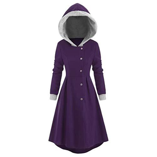 serliyFrauen große Langarm-Winterjacke, Lange Wolle mit Kapuze Kragen einreihige Taste asymmetrischen Rock Jacke Mantel Jacke Jacke Halloween-Kostüm