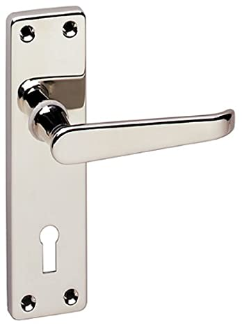 URFIC 90-325-04 LK Victorian Polished Nickel Lever Lock Traditional Door Handle Set