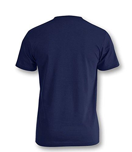 Deutschland Einhorn - Herren Rundhals T-Shirt Navy/W-Schwarz-Rot-Gelb