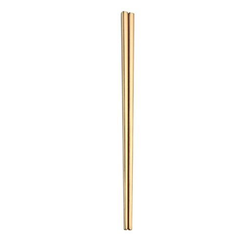 1Pair Stainless Steel Tableware Colorful Length 23cm Chopsticks,Long Handle Stainless Steel Chopsticks-Soup Chopsticks Jimmkey Chopsticks Cutlery (Gold, 23cm)