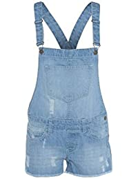 4ec99ceb02ac RIDDLED WITH STYLE Womens Ladies Denim Style Dungaree Shorts Dress Jumpsuit