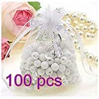 Yixinlifeas 100 unids Bolsa de Hilo Blanco Plata Caliente Mariposa pequeña joyería Bolso de la joyería Bolso del Caramelo