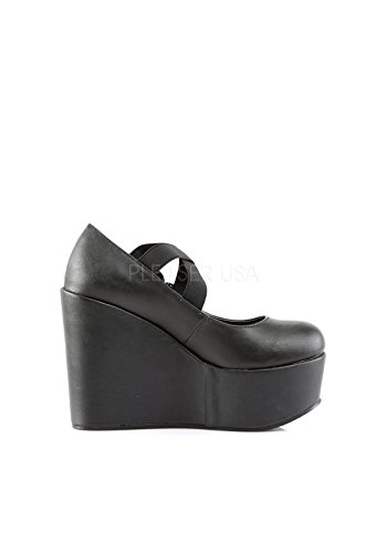 Demonia POISON-02 scarpe Wedges Blk Vegan Leather-Lace