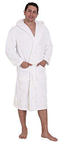John Christian - Albornoz de rizo 100% algodón con capucha para hombre - Blanco (XL)