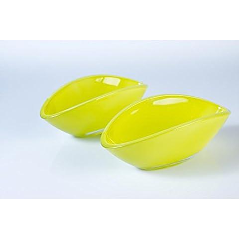 2 x Fuente ovalada de cristal / fuente decorativa KIRA, verde claro, 17 x 8 cm - Recipiente de vidrio / Cuenco decorativo - INNA Glas