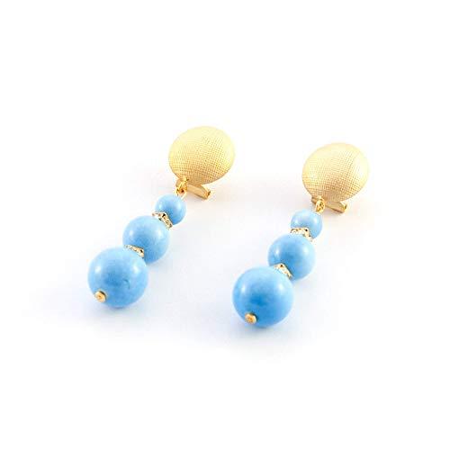 Ohrringe lange triple ball und Strass. Einzigartig, elegant, schick. Kunstharzperlen mit Porzellan-Effekt, strass Juwelen und Omega-Verschluss in mattem Gold-Effekt. Frau, blau (Einzigartige Kostüme Frau)