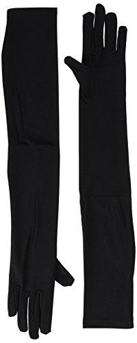 Lange Schwarze Handschuhe Lycra Satin (Widmann 1449C - Schwarze Handschuhe für)