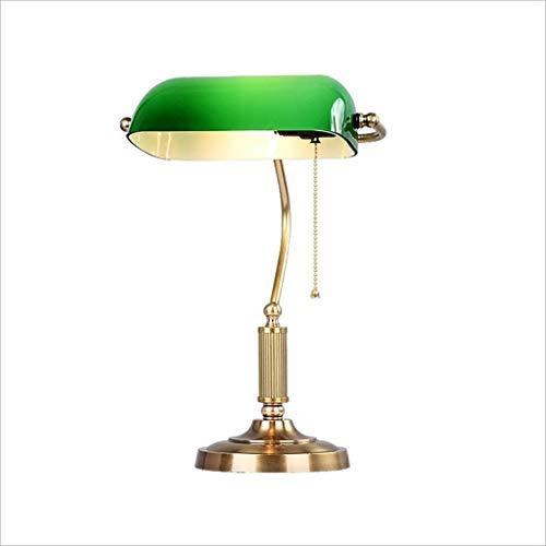 JZX Leselampe, Studentenwohnheim Tischlampe-eintöniges Design, Administrative Banker Lampe, Glas Lampenschirm Antik Messing Led-Licht , 26X40Cm