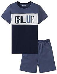 Schiesser Jungen Anzug kurz' Zweiteiliger Schlafanzug, Blau (Jeansblau 816), 176 (Herstellergröße: L)