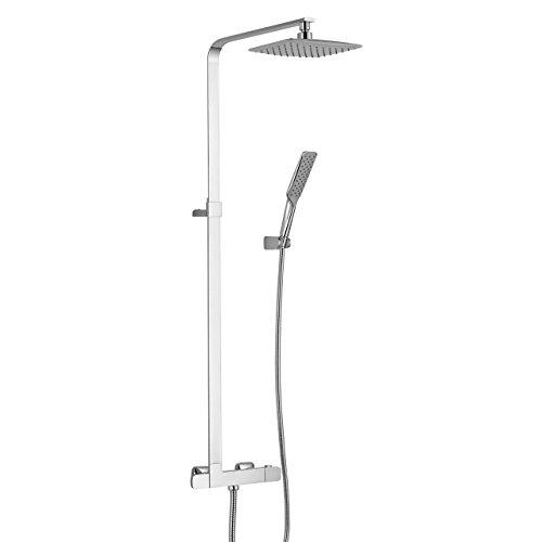 Komplettset Duschset Regendusche mit Thermostatarmatur Duscharmatur - massive Duschsäule - mit 246 x 170mm höhenverstellbarer Kopfbrause