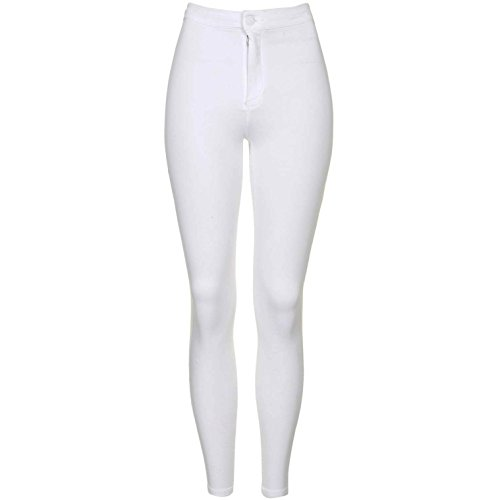 9d955d422e8f5 New Ladies High Waisted Super Skinny Stretch Ankle Tube Pencil Jeans  Jeggings UK SIZE 6-16 (UK8 / EU36, White) - Buy Online in Oman.
