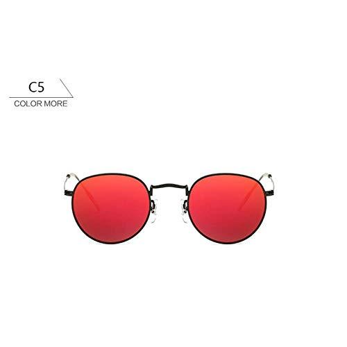 Chudanba Runde Mode Sonnenbrillen Frauen männer Sonne weiblich Damen Eyewear Shades Brille,Black red