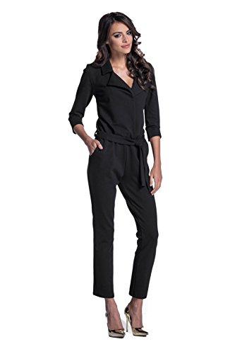 Lemoniade eleganter Jumpsuit mit 3/4-Ärmel, elegantem Kragen und ausgefallener Schnürung an der Hüfte (S (36), Modell 2 Schwarz)
