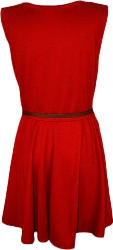 WearAll - Neu Damen Übergröße Gürtel Skater Ärmellos Ausgestelltem Kleid Kurz Dress - 9 Farben - Größe 44-54 Rot