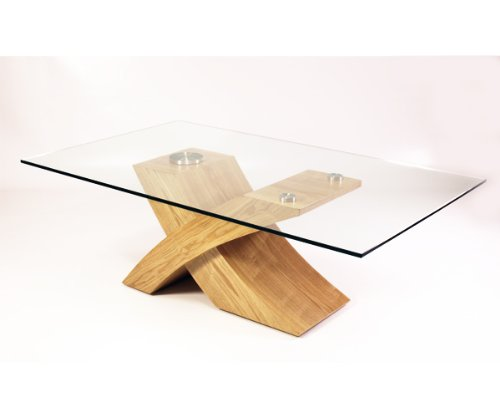 Milano x glass wood coffee table oak 135 w x 80 d x 45 for X coffee tables
