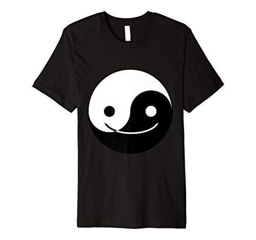 Yin Yang Smiley Emoji Face Chinese Tai Chi Symbol T-Shirt