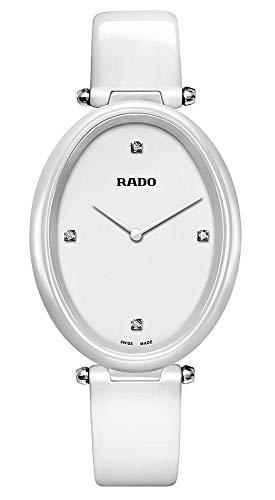 Rado Esenza Diamonds Touch White Ceramic R53092715 Womens Watch Sapphire Crystal Oval Case Diamond Markers Quartz