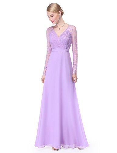 Ever Pretty Damen Elegant Langarm Abendkleid Maxikleider 36 Größe Lavendel