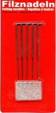 Filznadeln mit Haken, Körnung S (fein) 5 Stück