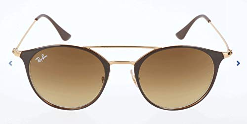 Ray-Ban Unisex-Erwachsene Sonnenbrille Rb 3546 Gold Top Brown/Browngradient, 52