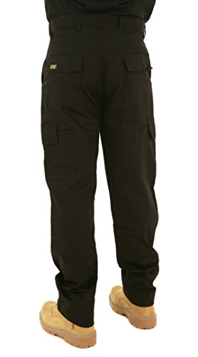 "Image of Mens Multi Pocket Action Cargo Work Trousers Sizes 28 to 52 Black or Navy 34 Waist / 29"" Short Leg Black"