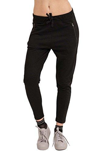 trueprodigy Casual Damen Marken Jogginghose einfarbig Basic, Sweathose cool und stylisch Vintage (Sportlich & Slim Fit), Chino Sweatpant für Frauen in Farbe: Schwarz 6473502-2999-S Vintage Chino