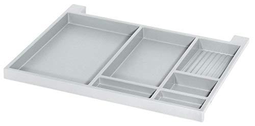 Schreibtisch Utensilien-Auszug Schubladen-Schiene Vollauszug - NINKA | 566 x 390 x 36 mm | Schreib-Tischauszug: weißgrau | Möbelbeschläge | 1 Paar - Auszüge für Unterbau-Montage ()