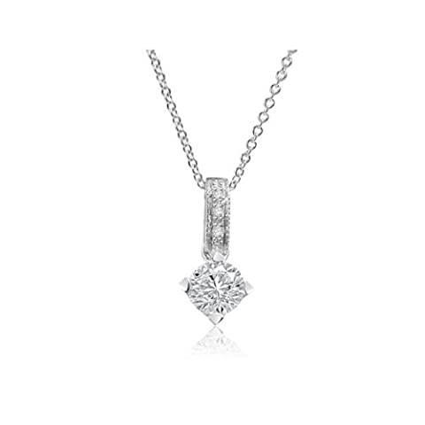 0.16ct G/SI1 Solitaire Diamond Pendant for Women with Round Brilliant Diamonds in 18ct White Gold with Necklace