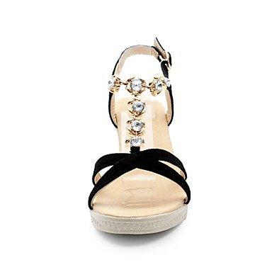 LvYuan Da donna Sandali Decolleté Di pelle Estate Matrimonio Casual Formale Serata e festa Decolleté Con diamantini Zeppa Nero 5 - 7 cm Black