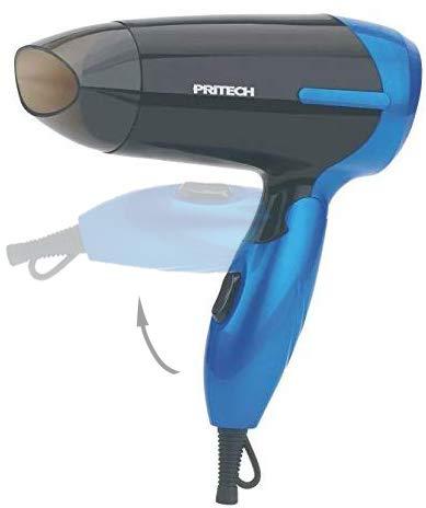 Pritech - Asciugacapelli da viaggio pieghevole, mod. TC-2260- agli ioni, beccuccio per concentrare l'aria, 2velocità, ideale per viaggi e per quando sei fuori di casaAsciugacapelli piccolo. blu