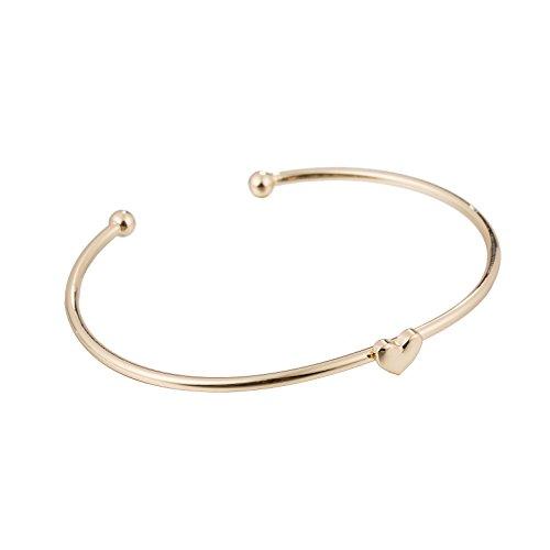 GOOD.designs modischer Damen Herz-Armreif, Armspange aus 925 Sterlingsilber plattierter Kupferlegierung in Silber (Gold Herz) (Armbänder Armreifen Gold Dünne)