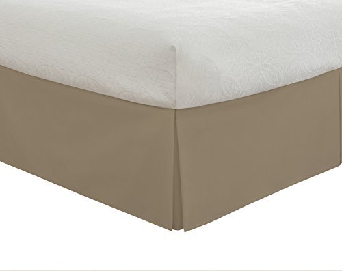 Lux Hotel Bedding Tailored Bed Skirt, Classic 14 Drop Length, Pleated Styling, Twin, Mocha by Lux Hotel Pleated Drop