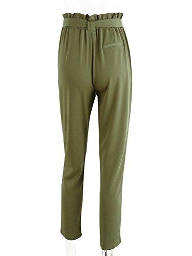 Simplee Apparel Damen Hosen Elegant High Waist Stretch Chiffon Skinny Hosen Pants Casual Streetwear Hosen mit Tunnelzug Grün