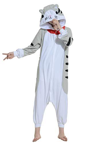 Unisex Kigurumi Jumpsuit Tier Pyjamas Kostüm Fasching Onesie Damen Herren Karneval Cosplay Nachtwäsche, Tabby Katze