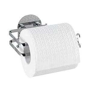 WENKO 21780100 Turbo-Loc Edelstahl Toilettenpapierhalter, Befestigen ohne bohren, Edelstahl rostfrei, 13.5 x 7 x 11 cm, Glänzend