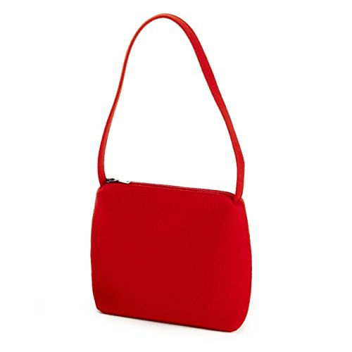 ESTA-Design Borsa Messenger dunkel grau meliert kurzer Henkel Rosso chiaro