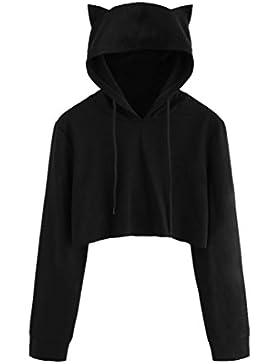 LuckyGirls Mujeres Corta Camiseta Manga Larga Negro Color Sólido Oreja de Gato Sudadera con Capucha Camisa