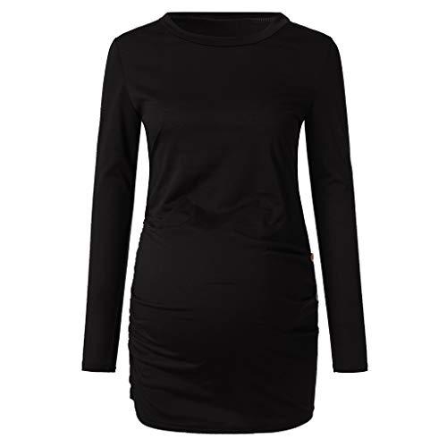 SiswongVêtement Femme Enceinte Hiver Pas Cher a la Mode Chemise de maternité Bouton latéral et Hauts de maternité froncés Chemises de maternité Longues Manches