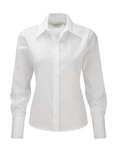 Russell Collection Absolut bügelfreie Langarm-Bluse R-956F-0 S,White